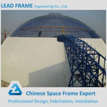 Light steel space frame dome shed for outdoor coal yard