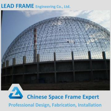 low cost steel space frame for limestone storage domes