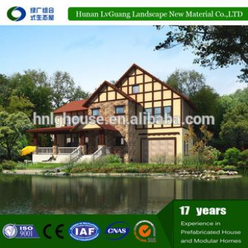 Red Brick Red Tiles Sloping Roof Prefab Country Villas in China