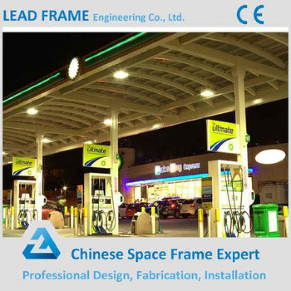 prefab steel space frame canopy for gas station #1 image